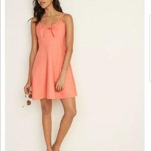 Old Navy Orange Fit & Flare Tie Front Dress
